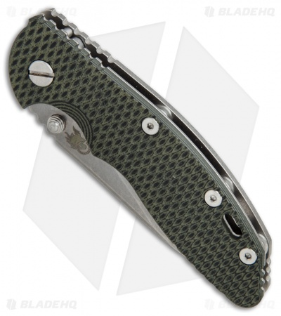 "Hinderer Knives XM-18 Slicer Frame Lock Knife Black/Green G-10 (3.5"" Stonewash)"