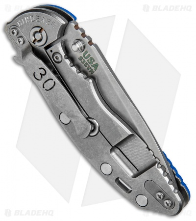 "Hinderer Knives XM-18 Spanto 30th Anniversary Knife Blue G-10 (3.5"" Stonewash)"