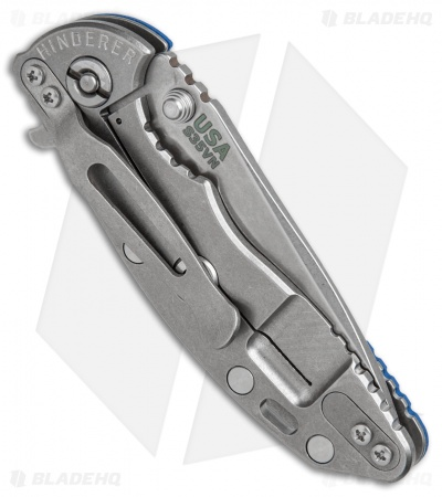 "Hinderer Knives XM-18 Spear Point Flipper Knife Blue G-10 (3"" Stonewash)"