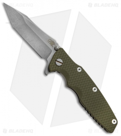 "Hinderer Knives Eklipse Gen 2 Harpoon Knife OD Green G-10 (3.5"" Stonewash)"