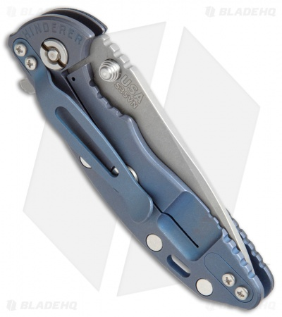 "Hinderer Knives  XM-18 Recurve Flipper Knife Black G-10/Blue Ano (3"" Working)"