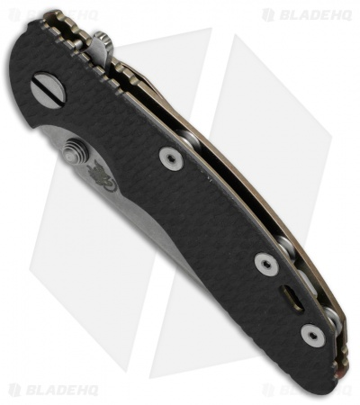 "Hinderer Knives XM-18 Spear Point Flipper Knife Black G-10 + Bronze Ti (3"" SW)"