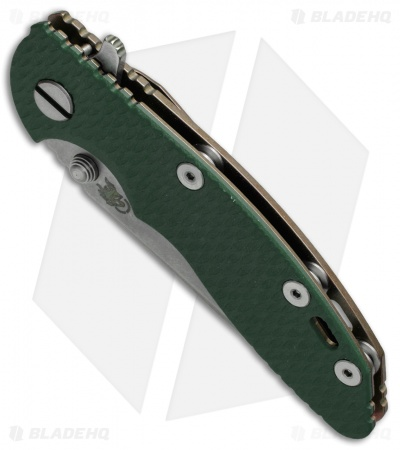 "Hinderer Knives XM-18 Spear Point Knife Dark Green G-10 + Bronze Ti (3"" SW)"