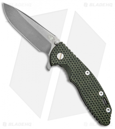 "Hinderer Knives XM-18 Spear Point Flipper Green/Black (3.5"" Battle Anthracite)"