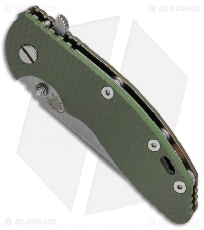 "Hinderer Knives XM-18 Spear Point Flipper OD Green G10  Brnz Ti (3.5"" Stonewash)"