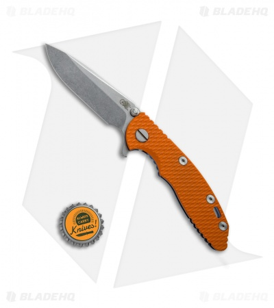 Hinderer Knives XM-18 3.0 Spear Point Flipper Knife Orange G-10 + Blue Ti (SW)