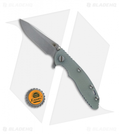 "Hinderer Knives XM-18 Spear Point Knife Translucent Green G-10 + Blue Ti (3"" SW)"