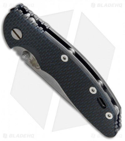 "Hinderer Knives XM-18 Slicer Frame Lock Knife Black/Blue G-10 (3.5"" Stonewash)"