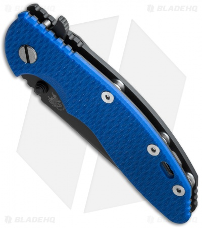 "Hinderer XM-18 Spear Point Flipper Knife Blue G-10/Black Ti (3.5"" DLC Black) BHQ"