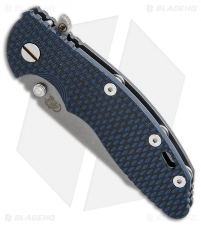 Hinderer Knives XM-18 3.5 Fatty Harpoon Tanto Knife Black/Blue + Ano (Working)