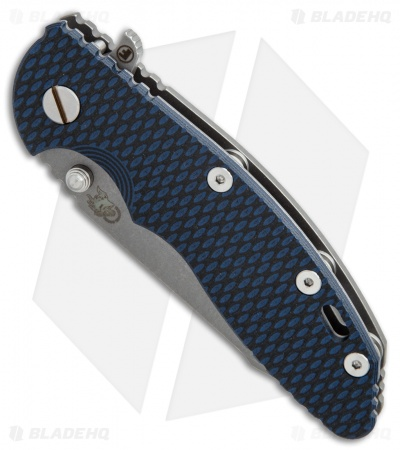 Hinderer Knives XM-18 3.5 Fatty Harpoon Tanto Knife Blue/Black (Working Finish)