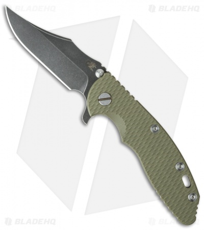 "Hinderer Knives XM-18 Bowie Flipper Knife OD Green (3.5"" Black SW)"