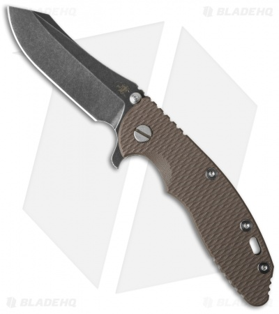"Hinderer Knives XM-18 Skinner Flipper Knife Brown FDE (3.5"" Black SW)"