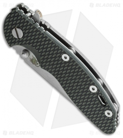 "Hinderer Knives XM-18 Spanto Flipper Knife Black/Green G-10 (3.5"" Stonewash)"