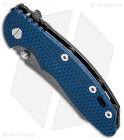 "Hinderer Knives XM-18 Skinner Frame Lock Knife Blue/Black (3.5"" Anthracite DLC)"