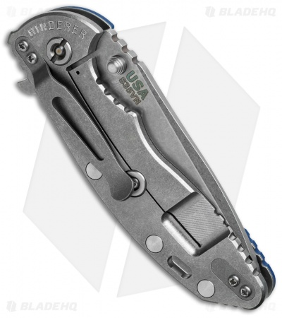 "Hinderer Knives Fatty Edition XM-18 Spanto Flipper Knife Blue (3.5"" Stonewash)"