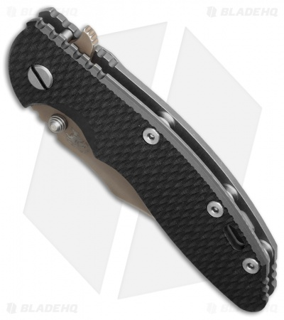 "Hinderer Knives XM-18 Bowie Flipper Knife Black G-10 (3.5"" FDE Brown)"