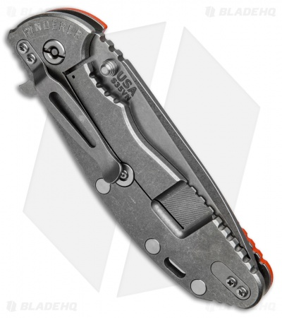 "Hinderer Knives XM-24 Spanto Flipper Knife Orange G-10 (4"" Stonewash)"