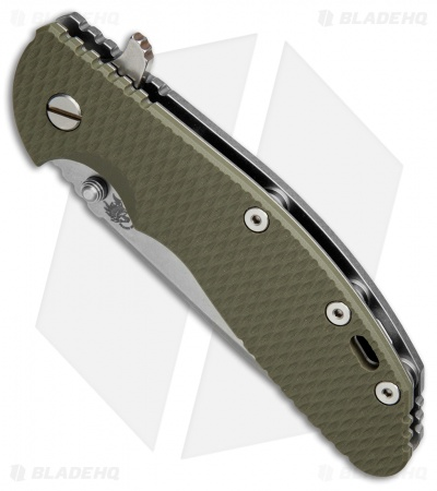 "Hinderer Knives XM-24 Spear Point Flipper Knife OD Green G-10 (4"" Stonewash)"