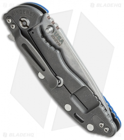 "Hinderer Knives XM-18 Spear Point Flipper Knife Blue G-10 (3.5"" Stonewash)"