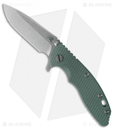 "Hinderer Knives XM-18 Spear Point Flipper Knife Dark Green G-10 (3.5"" Stonewash)"