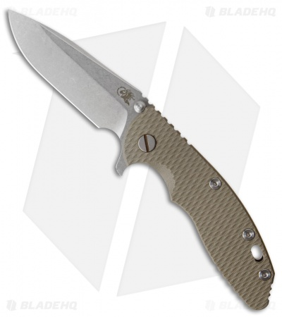 "Hinderer Knives XM-18 Spear Point Flipper Knife OD Green G-10 (3.5"" Stonewash)"