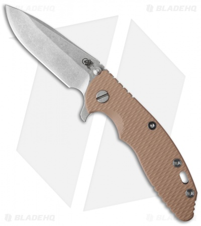 Hinderer Knives XM-18 3.5 Spear Point Flipper Coyote Brown G-10 (Stonewash)