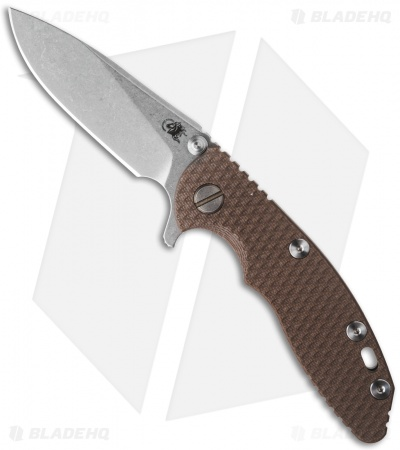 "Hinderer Knives XM-18 Slicer Flipper Knife Brown G-10 (3"" Stonewash)"