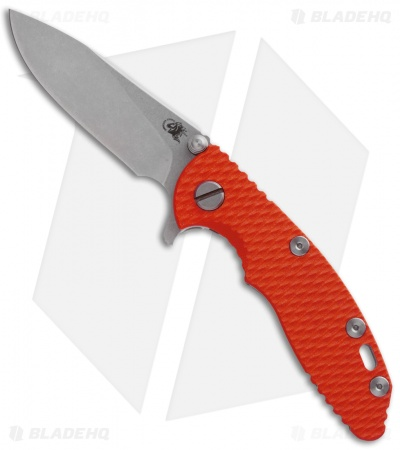 "Hinderer Knives XM-18 Slicer Flipper Knife Orange G-10 (3"" Stonewash)"