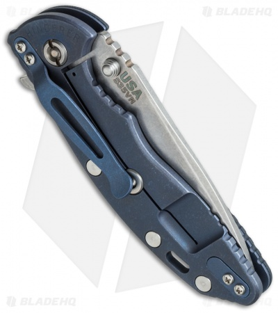 "Hinderer Knives XM-18 Spear Point Flipper Knife Black G-10/Blue Ti (3.5"" SW)"