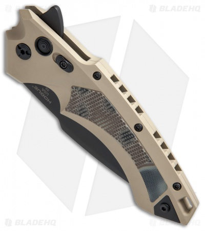 "Hogue Knives X-5 Tactical Flipper Knife FDE G-Mascus (4"" Black)"