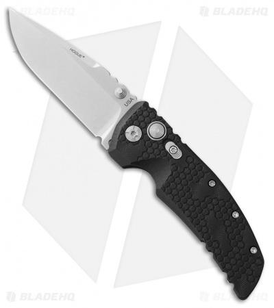 "Hogue Knives EX-01 Drop Point Folding Knife Black G-10 (3.5"" Stonewash) 34177"