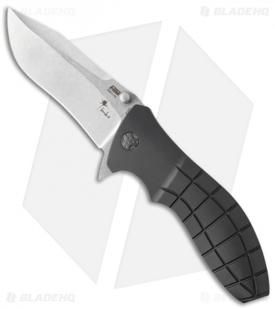 "HTM Kirby Lambert Snap Clip Point Spring Assisted Knife Black (3.5"" Stonewash)"