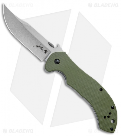 "Kershaw Emerson CQC-10K Frame Lock Knife OD Green G-10 (3.5"" Stonewash) 6030"