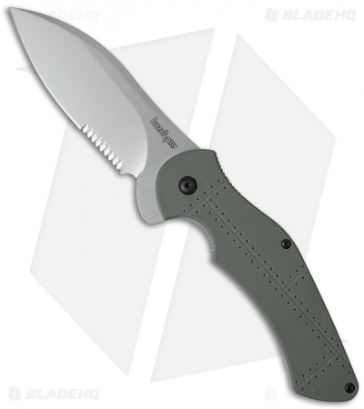 "Kershaw Junkyard Dog II Liner Lock Knife Gray G10 (3.75"" Bead Blast Serr) 1725ST"