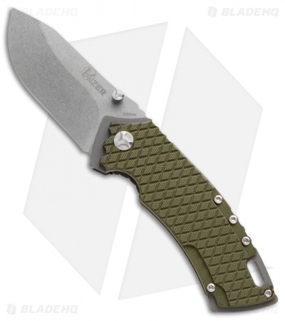 "Kizer Cutlery Ki3411A1 Small Liner Lock Knife Green G-10 (2.5"" Stonewash)"