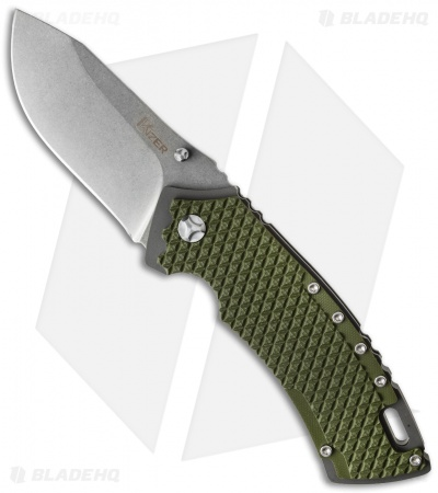 "Kizer Folding Knife Green G-10 (3.25"" Stonewash) Ki4411F1"
