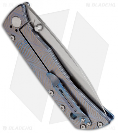 "Kizer Folding Knife Blue Anodized Titanium (4"" Stonewash) Ki4424A2"