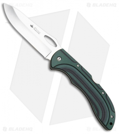 "Kizlyar Supreme Knives Dream Lockback Knife Black/Green G-10 (4.1"" Polish)"