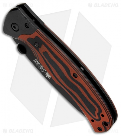 "Kizlyar Supreme Knives Prime Liner Lock Knife Black/Red G-10 (3.375"" Black)"