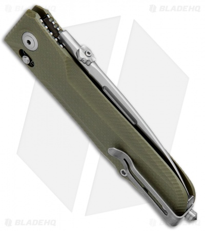 "LionSteel Big Daghetta Folding Knife OD Green G-10 (3.7"" Satin)"