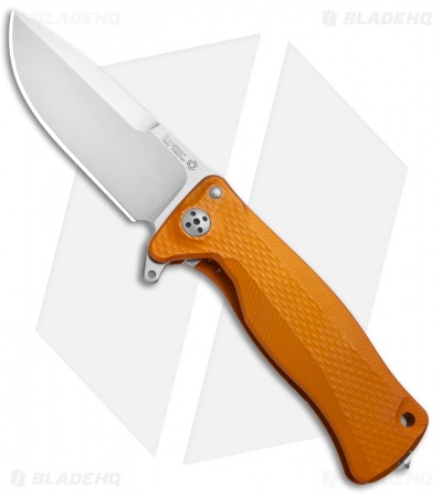 "LionSteel SR-11A Flipper Integral Frame Lock Knife Orange Al (3.6"" Satin)"