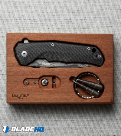 "LionSteel Three Rapid Exchange Flipper Knife Carbon Fiber (2.8"" Damascus) TREDT"