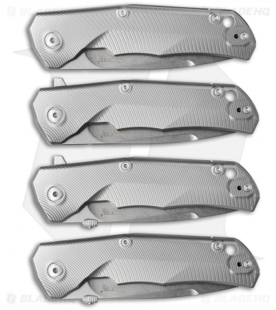 "LionSteel TRE Three Rapid Exchange Frame Lock Knife Bronze Clip (2.9"" Stonewash)"