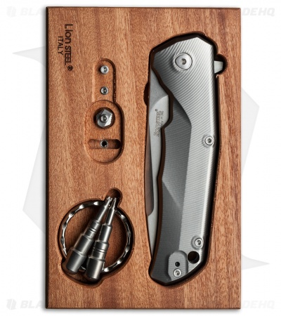 "LionSteel TRE Three Rapid Exchange Frame Lock Knife Titanium (2.9"" Stonewash)"