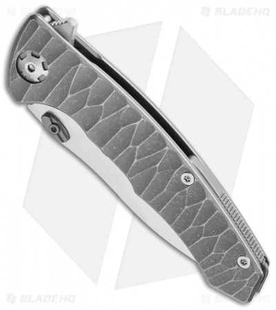 "Maxace Corvus Framelock Flipper Knife Gray Ti (3.75"" Satin M390)"