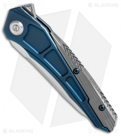 Maxace Ptilopsis Hybrid Integral Frame Lock Knife Blue/Gray Ti (Bevel Satin)