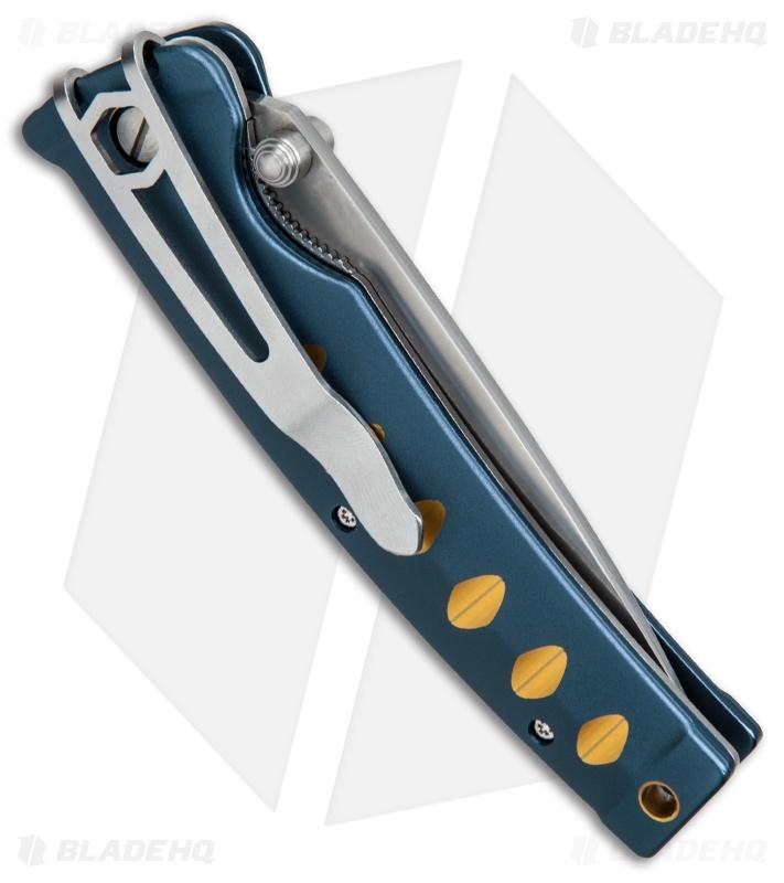 Mcusta Katana Manual Folder Knife Blue w/ Orange Accents Seki Japan MC-42C