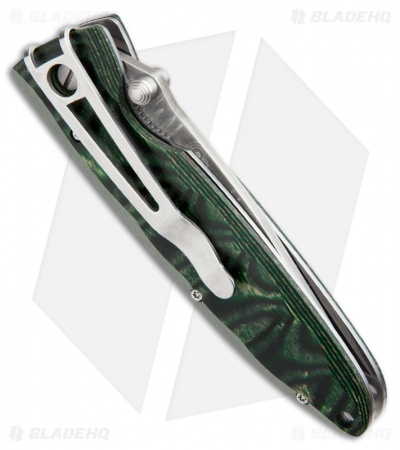 "Mcusta Basic MC-11D Liner Lock Knife Green Wood (3.25"" Damascus)"