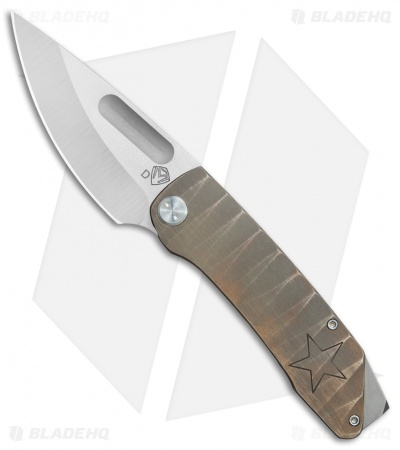 "Medford The General Custom Frame Lock Knife Bronze Sculpted w/ Star (4"" SW) MKT"